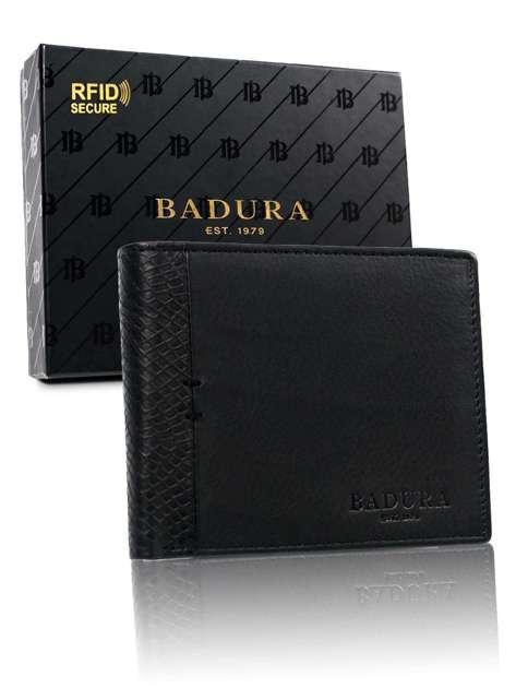 Czarny poziomy portfel męski BADURA