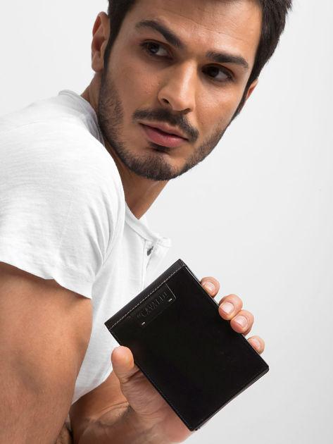 Czarny poziomy portfel męski skórzany                              zdj.                              8
