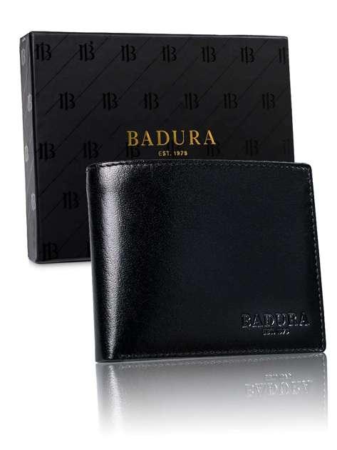Czarny skórzany męski portfel BADURA