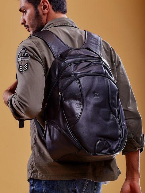 Czarny skórzany plecak męski w stylu motocyklowym                              zdj.                              1