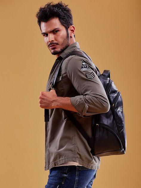 Czarny skórzany plecak męski w stylu motocyklowym                              zdj.                              6