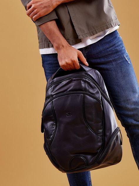 Czarny skórzany plecak męski w stylu motocyklowym                              zdj.                              7