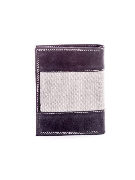 Czarny skórzany portfel dla mężczyzny z materiałową wstawką                              zdj.                              2