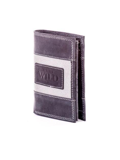 Czarny skórzany portfel dla mężczyzny z materiałową wstawką                              zdj.                              3