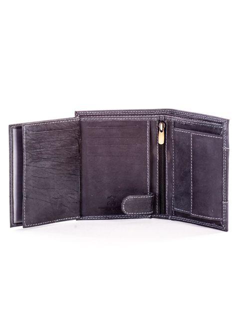 Czarny skórzany portfel dla mężczyzny z materiałową wstawką                              zdj.                              6