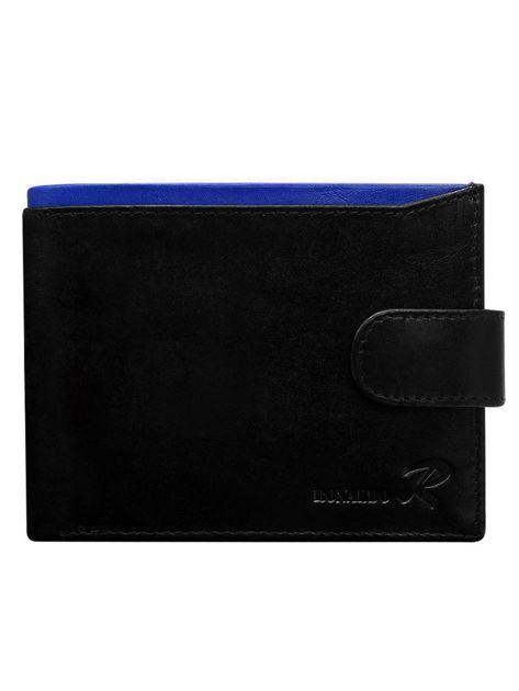 Czarny skórzany portfel dla mężczyzny z niebieską wstawką zapinany