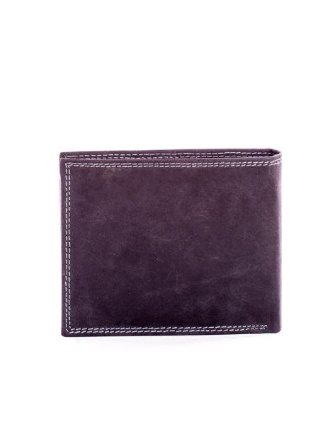 Czarny skórzany portfel dla mężczyzny z przeszyciami                              zdj.                              2