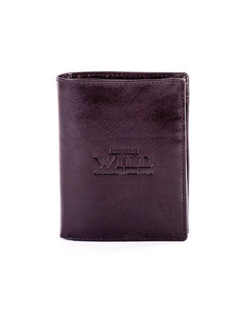 Czarny skórzany portfel dla mężczyzny z tłoczeniem                              zdj.                              1