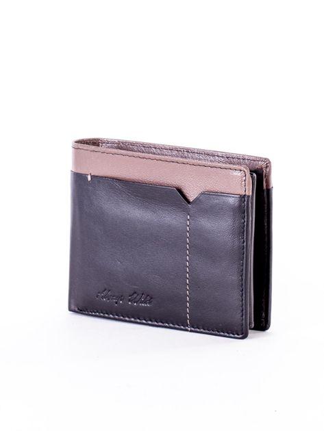 Czarny skórzany portfel męski z beżową wstawką                              zdj.                              3