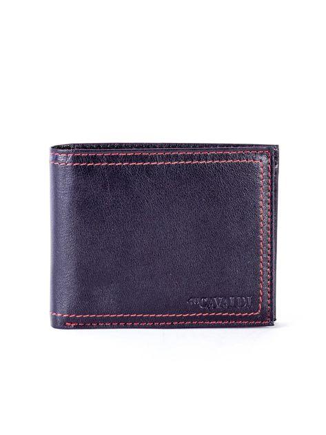 Czarny skórzany portfel męski z eleganckim czerwonym obszyciem                              zdj.                              1
