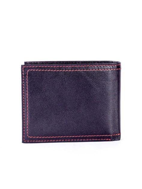Czarny skórzany portfel męski z eleganckim czerwonym obszyciem                              zdj.                              2
