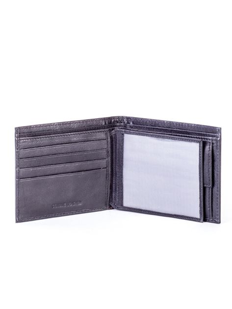Czarny skórzany portfel męski z eleganckim czerwonym obszyciem                              zdj.                              4