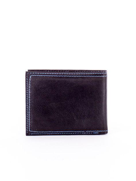 Czarny skórzany portfel męski z eleganckim niebieskim obszyciem                              zdj.                              2