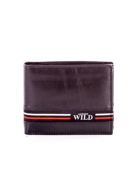 Czarny skórzany portfel męski z materiałowym modułem