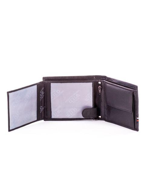 Czarny skórzany portfel męski z materiałowym modułem                              zdj.                              5