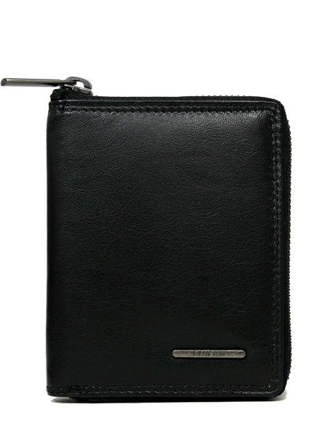 Czarny skórzany portfel męski zapinany na suwak                              zdj.                              1