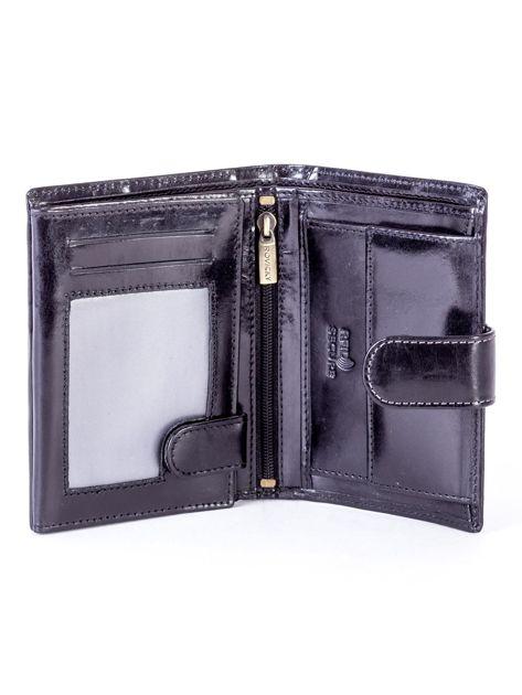 Czarny skórzany portfel na zatrzask                              zdj.                              4