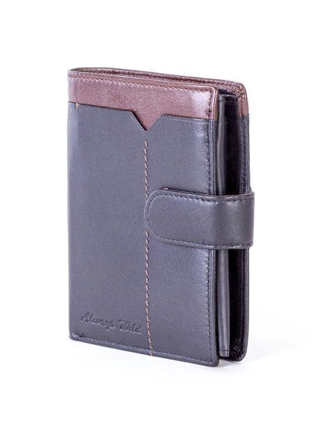 Czarny skórzany portfel z brązową wstawką                              zdj.                              3