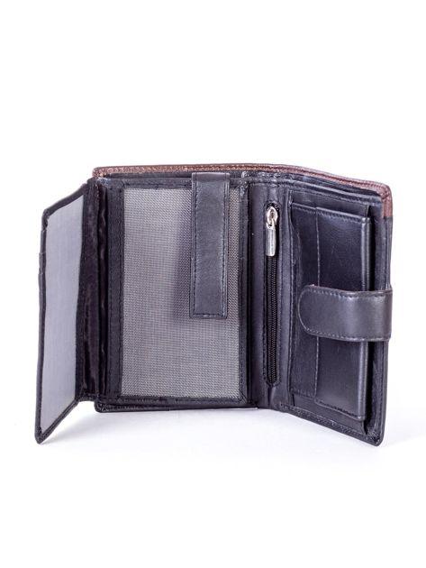 Czarny skórzany portfel z brązową wstawką                              zdj.                              5