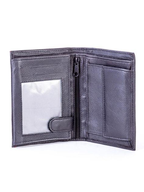 Czarny skórzany portfel z czerwonym wykończeniem                              zdj.                              4