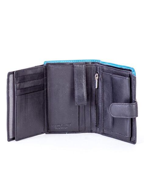 Czarny skórzany portfel z niebieską wstawką                              zdj.                              6