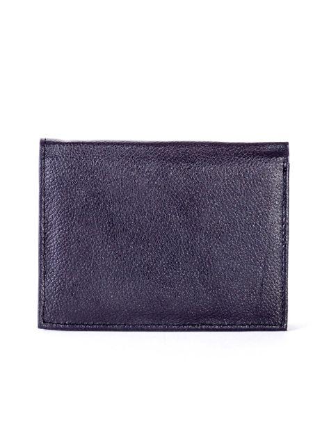 Czarny skórzany portfel z niebieskim wykończeniem                              zdj.                              2