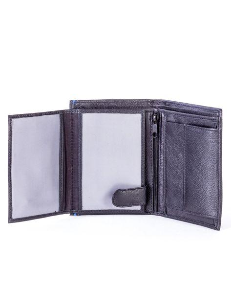 Czarny skórzany portfel z niebieskim wykończeniem                              zdj.                              5
