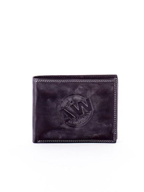 Czarny skórzany portfel z okrągłym tłoczeniem                              zdj.                              1