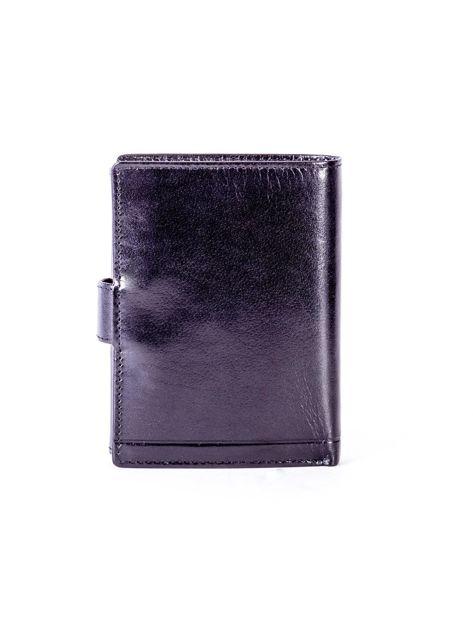 Czarny skórzany portfel z tłoczeniami                              zdj.                              2