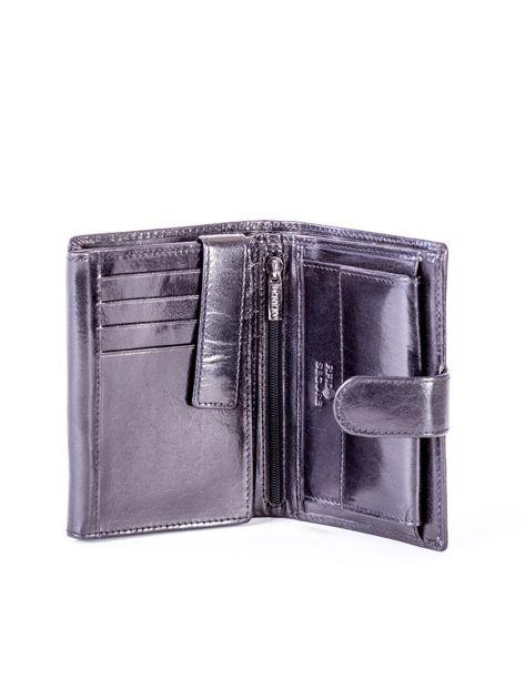Czarny skórzany portfel z tłoczeniami                              zdj.                              4
