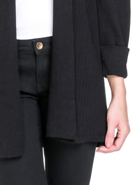 Czarny sweter kardigan z podwijanym rękawami z guziczkami                                  zdj.                                  5