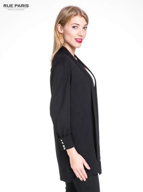 Czarny sweter kardigan z podwijanym rękawami z guziczkami                                  zdj.                                  3