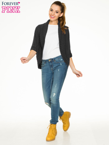 Czarny sweter narzutka z rękawem 3/4                                  zdj.                                  2