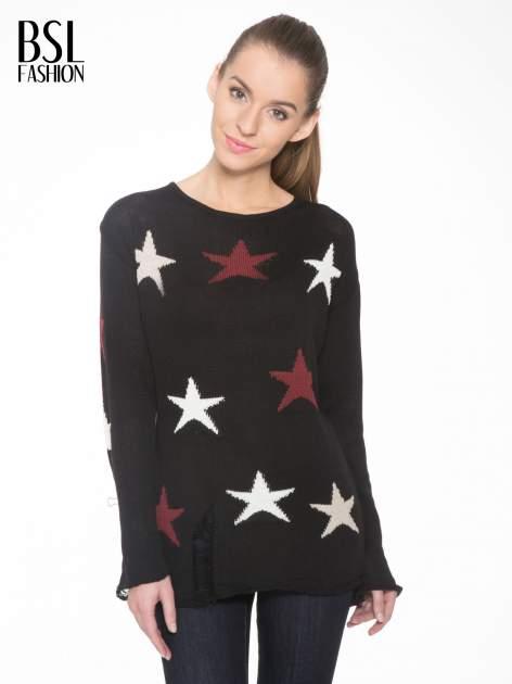 Czarny sweter w gwiazdy z efektem destroyed                                  zdj.                                  1