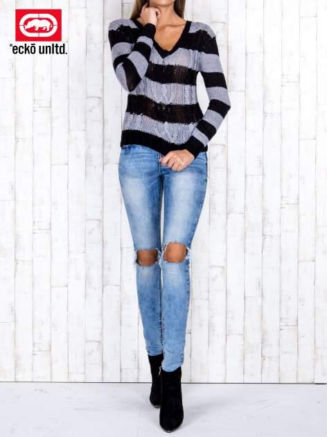 Czarny sweter w paski                                   zdj.                                  2