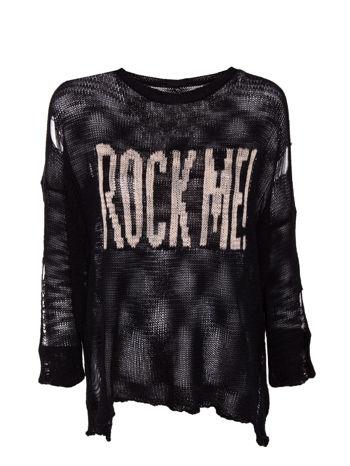 Czarny sweter z nadrukiem i efektem destroyed                                   zdj.                                  1