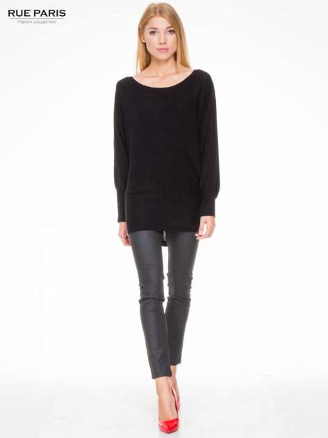 Czarny sweter z nietoperzowymi rękawami                                  zdj.                                  2
