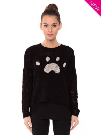 Czarny sweter ze zwierzęcym nadrukiem i efektem destroyed                                  zdj.                                  1