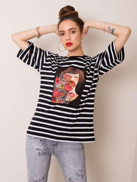 Czarny t-shirt Alicia RUE PARIS
