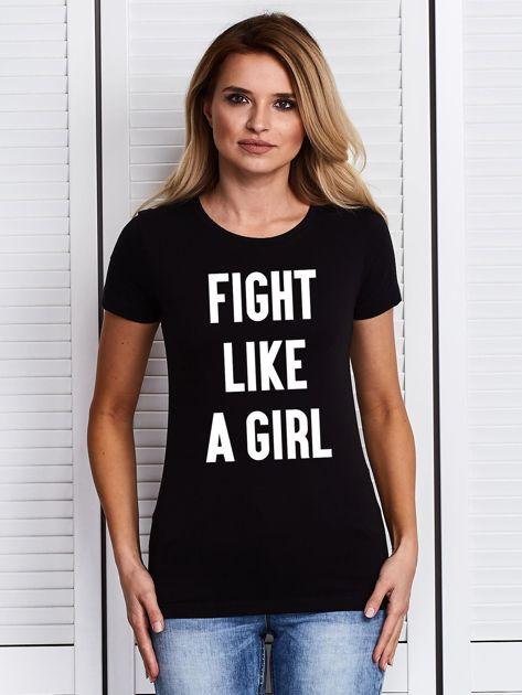 Czarny t-shirt FIGHT LIKE A GIRL z nadrukiem                                  zdj.                                  1