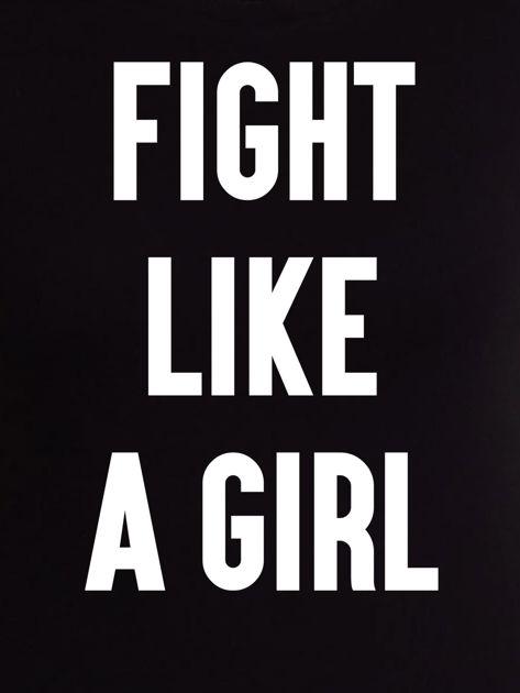 Czarny t-shirt FIGHT LIKE A GIRL z nadrukiem                              zdj.                              2