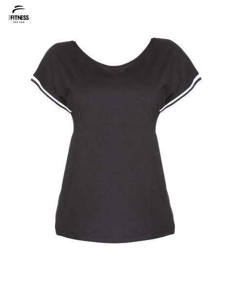 Czarny t-shirt damski ze sportową lamówką                                   zdj.                                  2