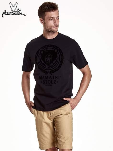 Czarny t-shirt męski ze zwierzęcym nadrukiem
