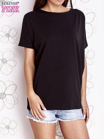 Czarny t-shirt oversize                                  zdj.                                  1