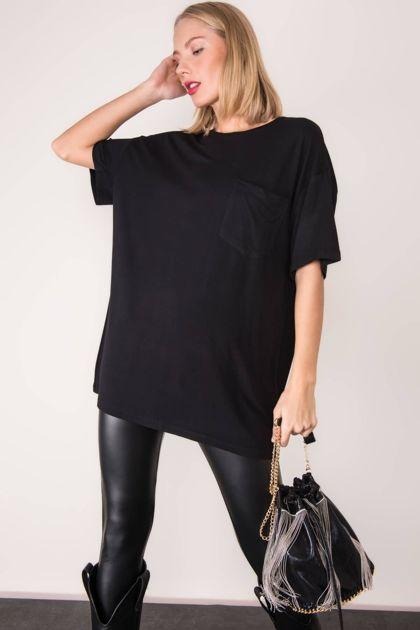 Czarny t-shirt oversize BSL