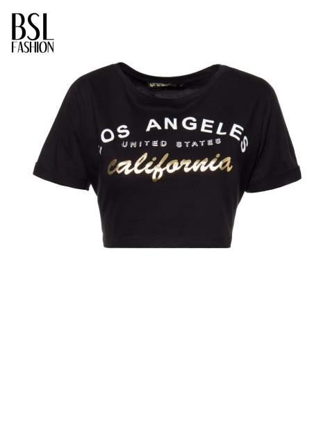 Czarny t-shirt typu crop top z nadrukiem UNITED STATES                                  zdj.                                  2