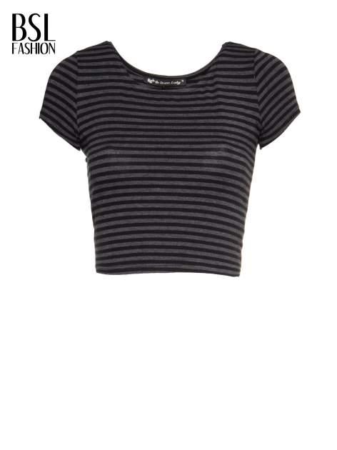 Czarny t-shirt typu crop w paski                                  zdj.                                  2