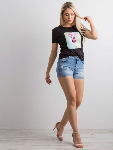 Czarny t-shirt z aplikacją 3D                              zdj.                              6