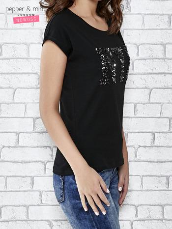 Czarny t-shirt z aplikacją NYC z cekinów                                  zdj.                                  3