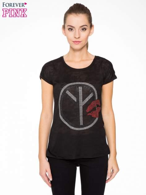 Czarny t-shirt z aplikacją z dżetów                                  zdj.                                  1